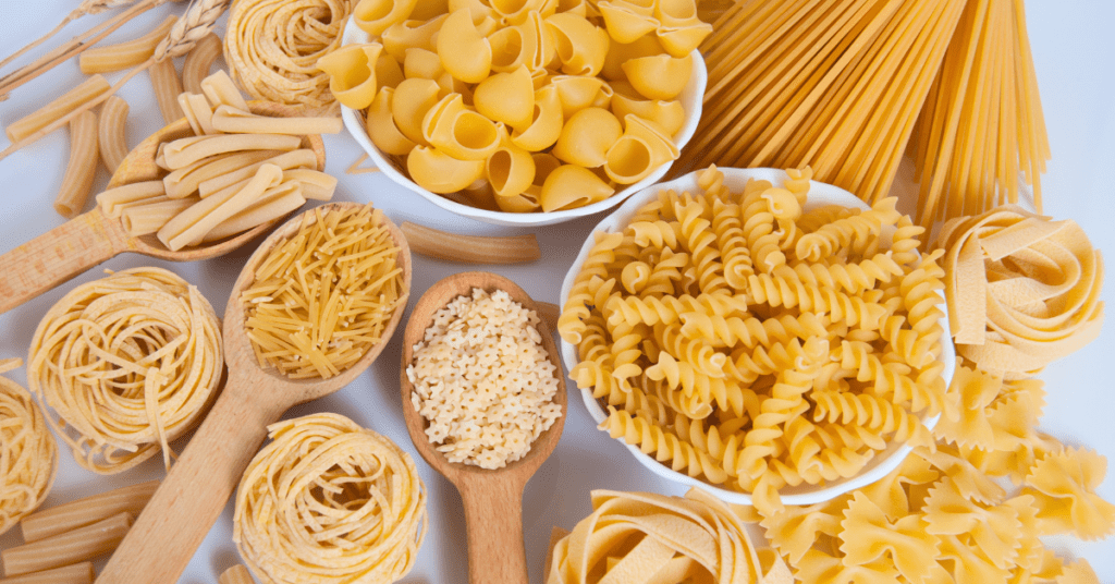selection of dried pasta