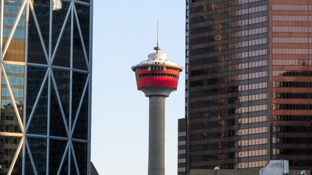 A beautiful view of the Calgary tower - a view that many Calgary tourists come for.