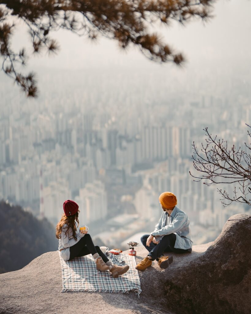 Outdoor mountain hike is a perfect, stress-free + simple way to return to dating