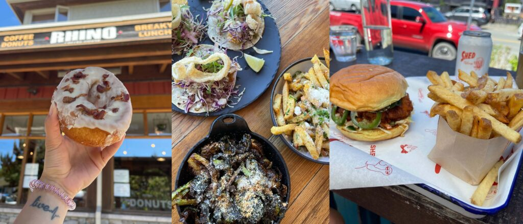 A compilation of food from a few different places in Tofino British Columbia