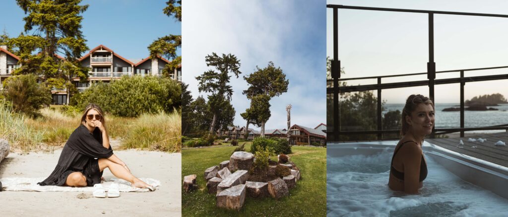 A compilation of images of the Best western Tin wis Resort. Left image is of a girl on the beach out front the the property. Middle image is of the totem-pole in the middle of the property. Right image is of the the hot tub overlooking the beach and ocean. It is the perfect spot to watch the sunset.
