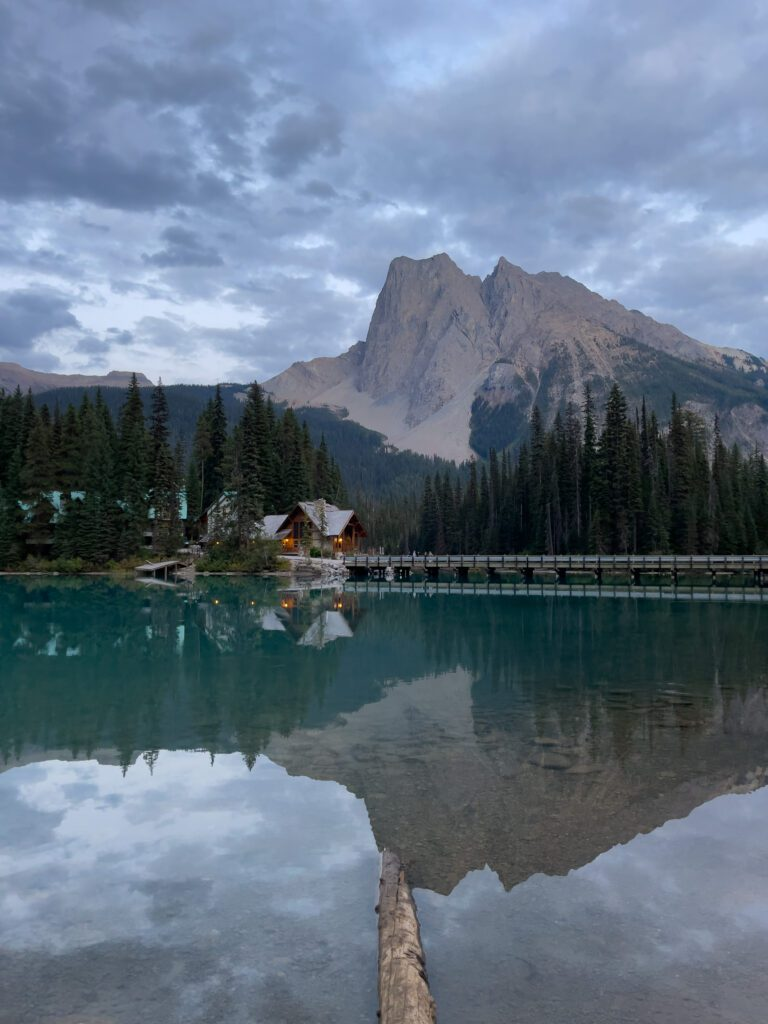 Sunset View of Emerald Lake Lodge and the surrounding mountains
