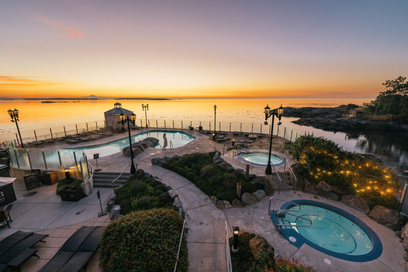 A sunrise over the pools at Oak Bay Beach Hotel