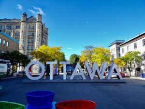 The famous Ottawa sign in the Byward Market during the day.