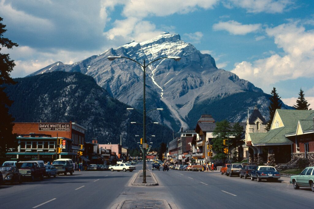 A great view looking down the road in Banff