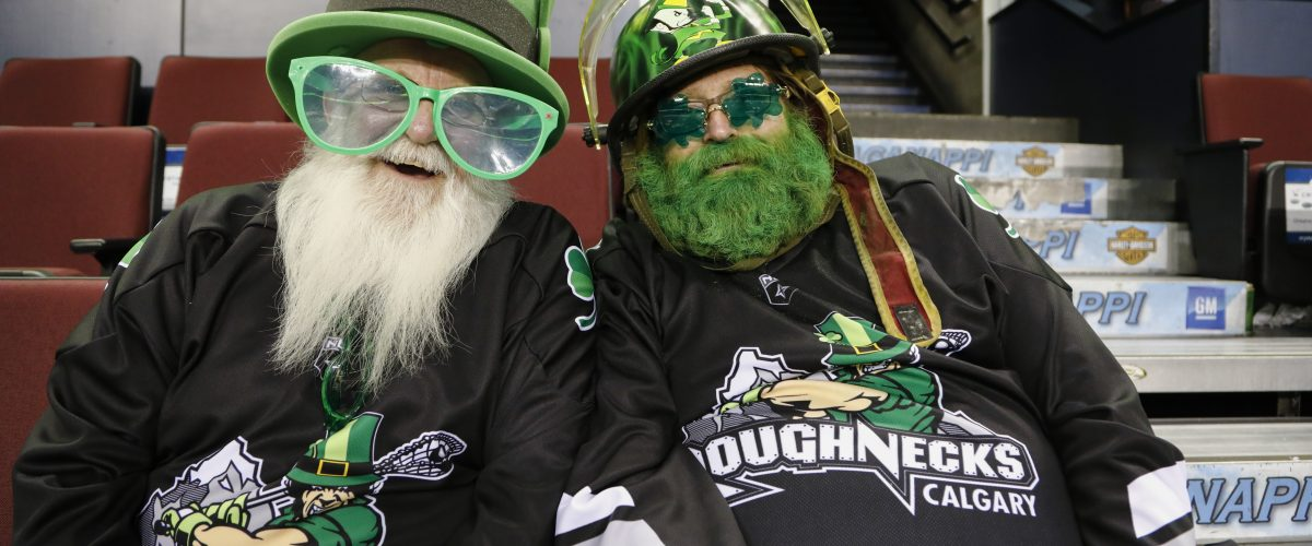 CALGARY, AB - MARCH 17, 2018: The Calgary Roughnecks won 14-13 against the Rochester Knighthawks at the Scotiabank Saddledome's St. Patrick's Day game on Saturday night. (Photo by Jenn Pierce/Calgary Roughnecks)